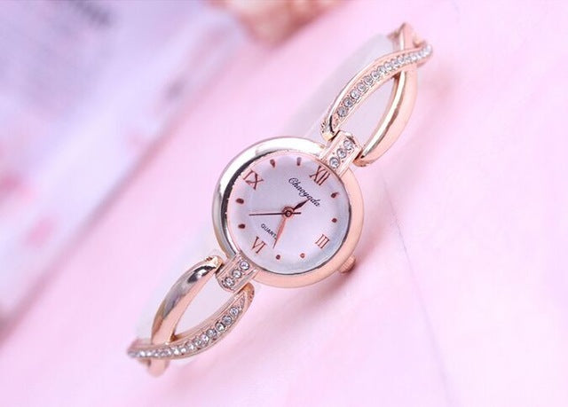 Costbuys  Original Bracelet Watches for Lady Fashion Dress Gold Charming Chain Style Jewelry Quartz Women Watch - rose gold