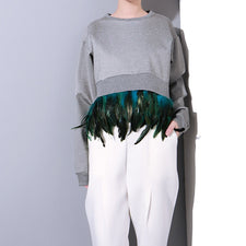 Autumn splicing detachable feather cocoon style asymmetric long sleeve sweatshirts women apparel