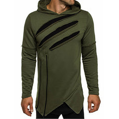 Hoodies Men Hip Hop Streetwear Irregular Zip Mens Hoodie Ripped Curve Hem Pullovers Sweatshirt