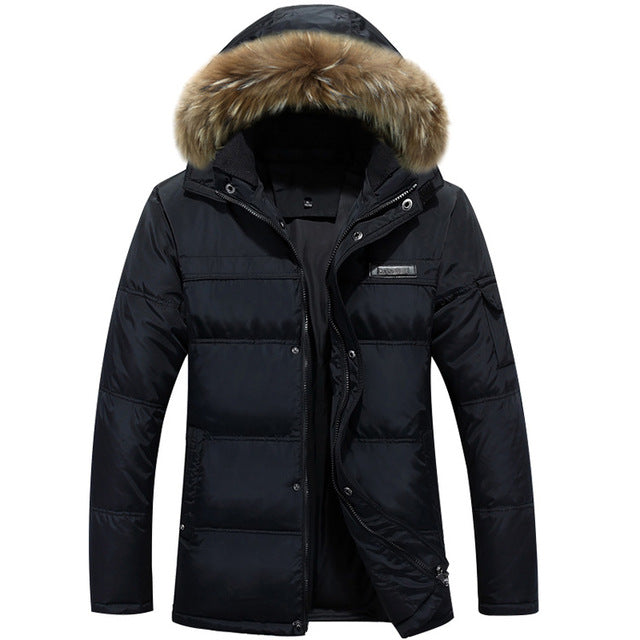 Costbuys  Fashion Men Down Coat With Hood Coat Men Winter Jacket Men's Male White Duck Down Jacket Coat Down-Jacket Coats Plus S