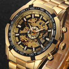 Antique Skeleton Mechanical Watches Men Stainless Steel Golden Band Wristwatch