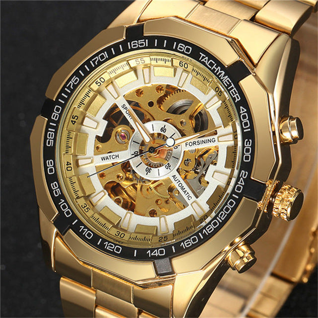Costbuys  Luxury Antique Skeleton Mechanical Watches Men's Stainless Steel Golden Band Wristwatch - golden white