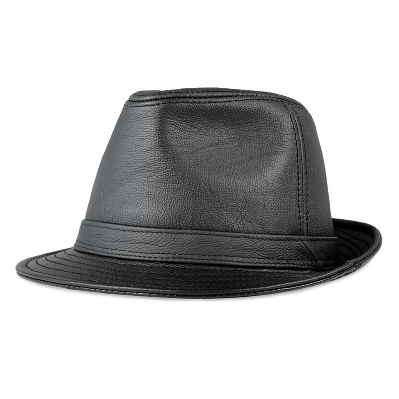Men real leather Fedoras new style real sheep cow leather Bowler/Derby caps hats