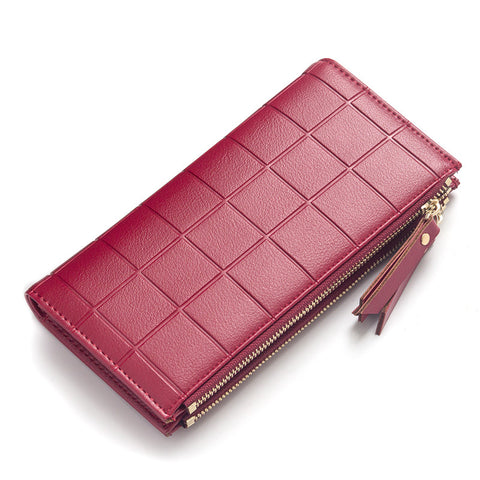 New Fashion Stereoscopic Square Women Wallets Embossed Wallet Female Clutch Double Zipper Purses Carteira Feminia Gift