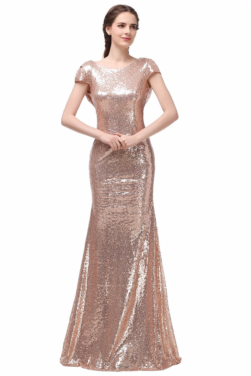 Costbuys  Champagne Gold Sequin Bridesmaid Dresses Long Wedding Party Dress - Champagne / 10