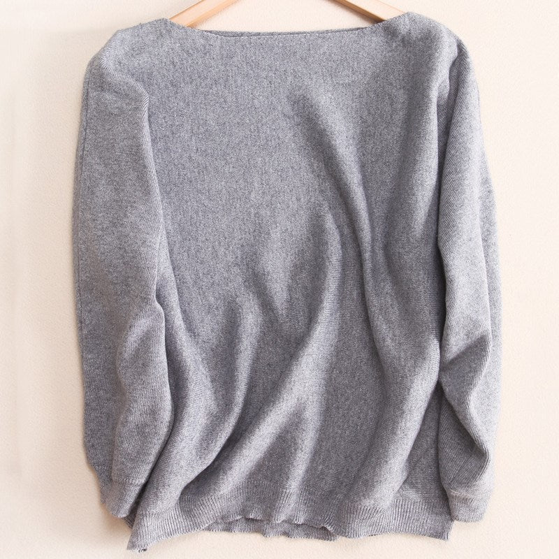 d28025b1fa Autumn winter NEW Women s Cashmere Sweater Fashion one collar loose ba –  Costbuys