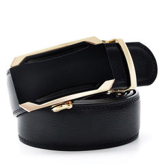 Automatic Buckle Belt For Men Cowskin Luxury Automatic Buckle Leather Belt Alloy Buckle Men Black Color