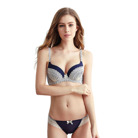 Ultra-thin Sexy Bra Set Unlined Push Up Underwear Women 3/4 Cup  Fashion adjustable strap brief sets Push up Vs Bra