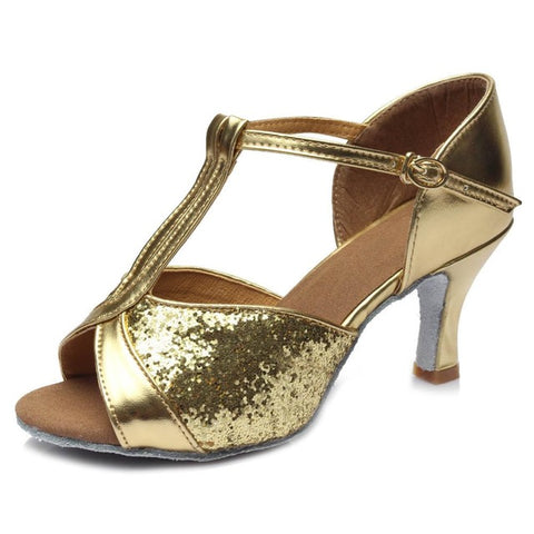 8.5cm Sexy High Heel Woman Satin Black And Brown Color Diamond Latin Dance Shoes Zapatos De Baile Latina
