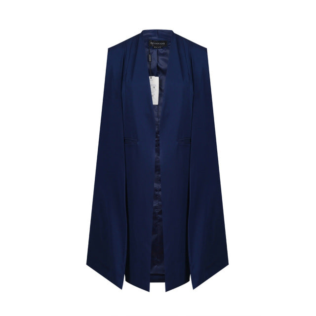 Costbuys  Women Casual Open Front Blazer Suits with Pocket Cape Trench Coat Duster Coat Longline Cloak Poncho Coat - Navy Blue /