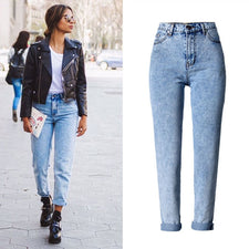 Women Long Jeans High Waist 100% Cotton Snow Wash Type Denim Jeans Vintage Loose Straight Denim Jeans Trousers