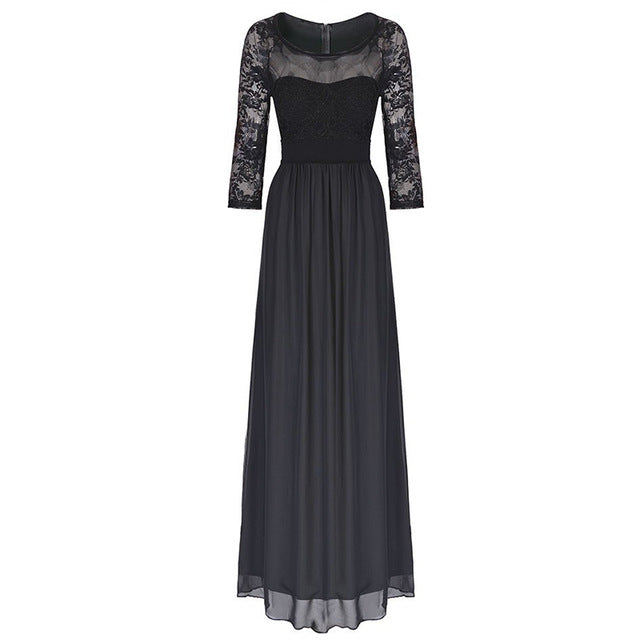 Costbuys  Summer Long Dress Women Lace Hollow Out 3/4 Sleeve Evening Party Dresses Black Maxi Dress - Black / L
