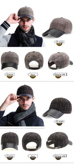 100% Cotton Winter Baseball Cap Men Keep Warm Dad Hat Thicken Bone Men's Snapback Plaid Caps Father's Best Gifts Hats