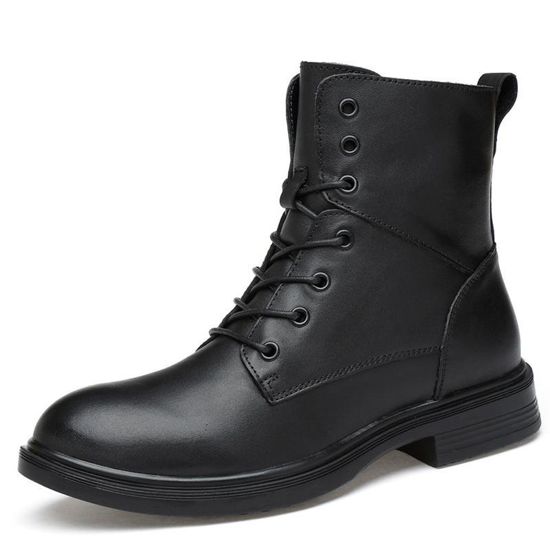 Fashion Style Black Men Casual Wear Boots Lace-up Male Shoes Solid Winter Comfortable Wear Cool Spring Autumn Shoes