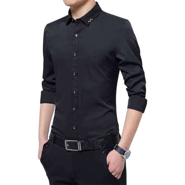 Costbuys  New Men's Pure Color Dress Shirt Fashion Leisure Business Men Slim Embroidered Elastic Long Sleeve Shirt - Black / Asi