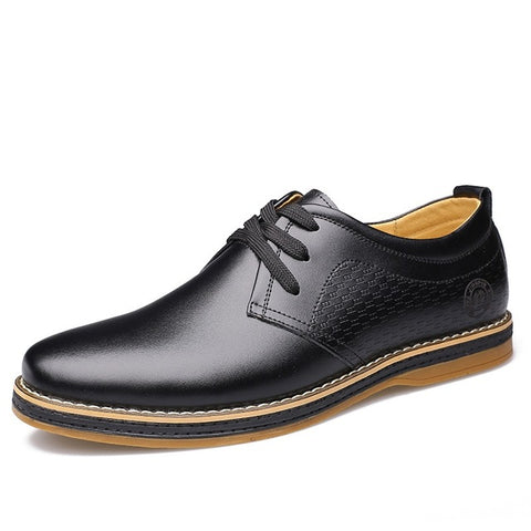 Business Men's Casual Shoes Breathable Lace Up Man Flats Male Social Shoe Split Leather Footwear Oxford Shoes For Men