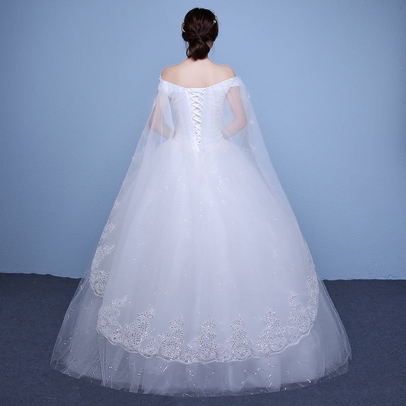 Elegant Boat Neck Ball Gown Wedding Dresses Lace Appliques Crystal ...