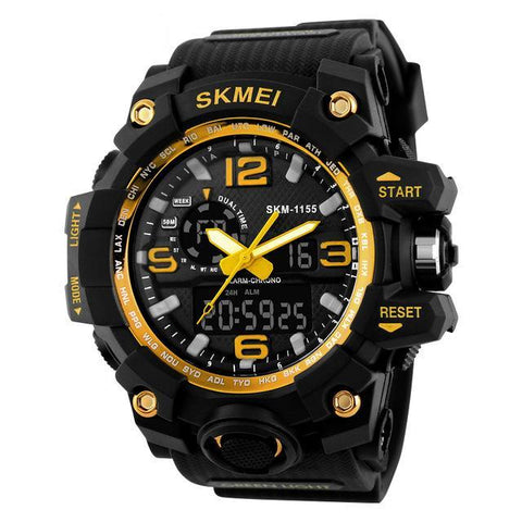 Big Dial Dual Time Display Sport Digital Watch Men Chronograph Analog LED Electronic Wristwatch Military Double Time