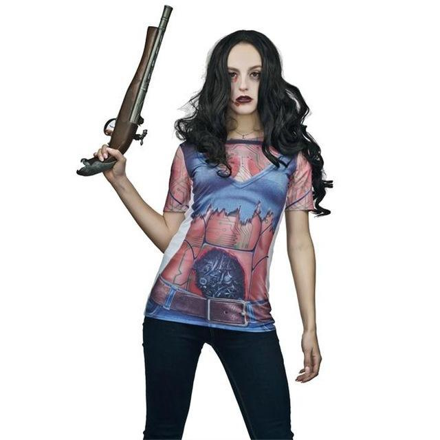 Costbuys  New 3D Printed T-shirt Costume Women's Novelty Halloween Sexy Figure Printed T-shirt Fancy Outfit Costumes