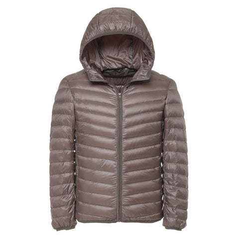 Winter New light down men Fashion Casual Men's Down Jacket Warm Hooded White duck down Coat Male