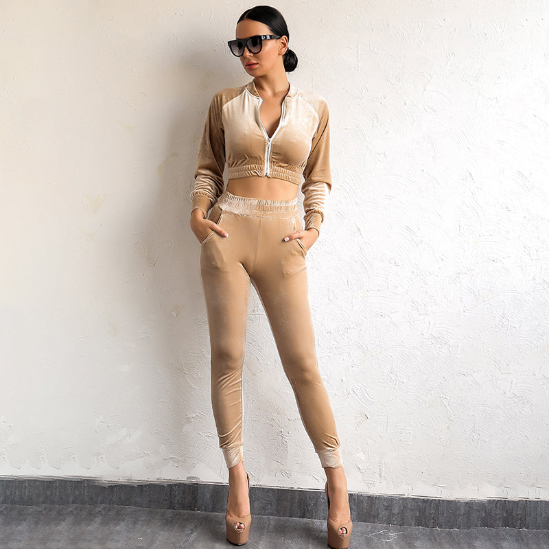 Velvet Tracksuit Two Pieces Set Sexy Pink Long Sleeve Top And Pants Suit Runway Winter Casual Womens Suit Women
