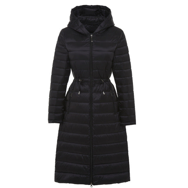 Costbuys  Woman Long Weightless Jacket Female Hooded Ultra Light Padded Jackets Winter Down  Coat Casual Parkas Solid - Black /