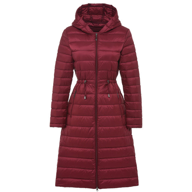 Costbuys  Woman Long Weightless Jacket Female Hooded Ultra Light Padded Jackets Winter Down  Coat Casual Parkas Solid - Burgundy
