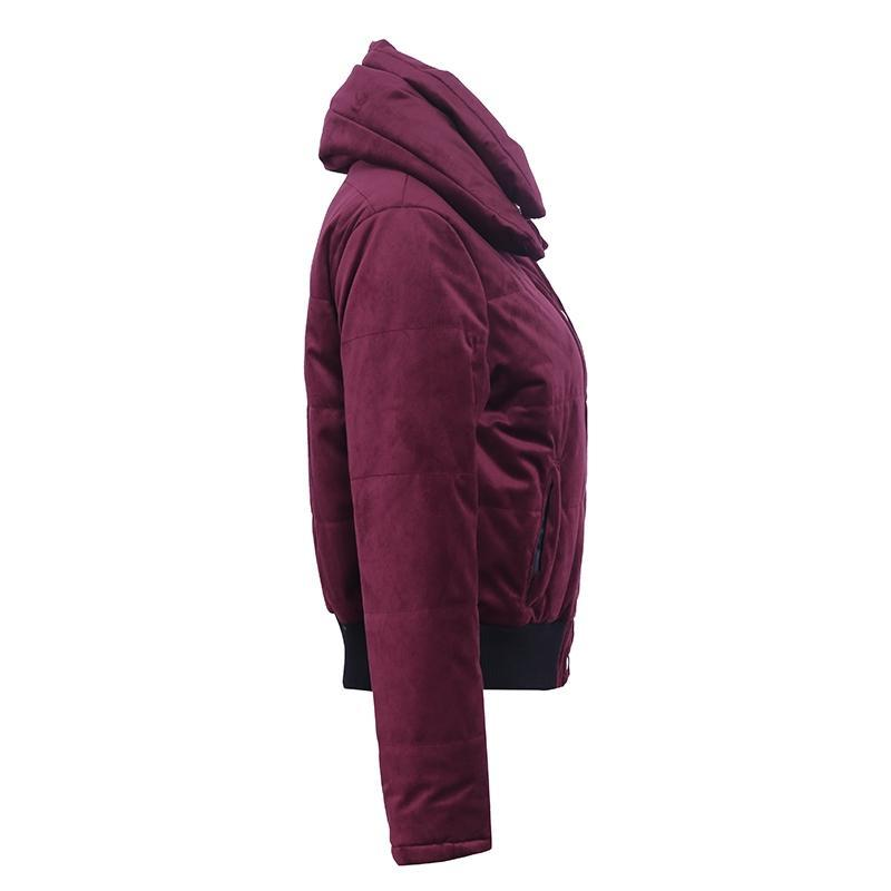 Velvet cotton padded basic jacket coat Women warm wine red parkas jackets female autumn winter casual outerwear