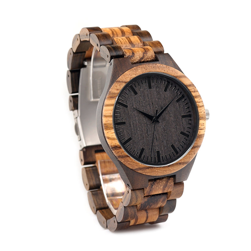 Costbuys  Men's Walnut and Ebony Wooden Watch with All Wood Strap Quartz Analog watch with Quality Movement clock gifts - Costbu