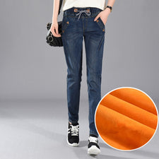 Women Winter Harlan Jeans Leisure Elastic Waist Trousers Thick Girls Outerwear With Velvet Pants