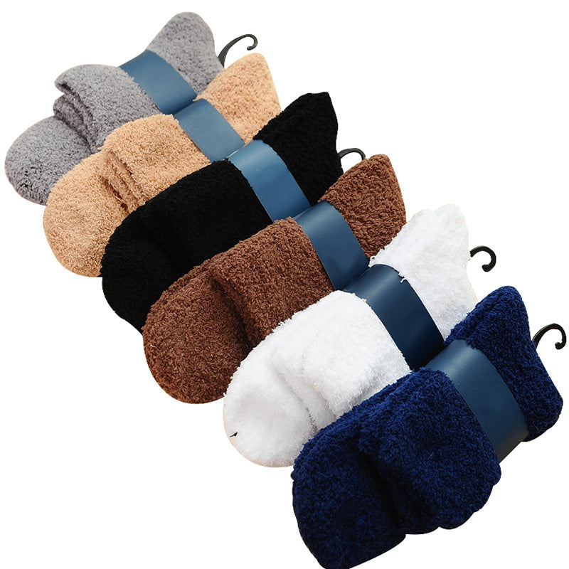 Costbuys  6 Pairs Men Coral Cashmere Sock Thick Warm Comfortable Autumn Winter Men Socks Casual Fashion Solid Color Sock - J ran