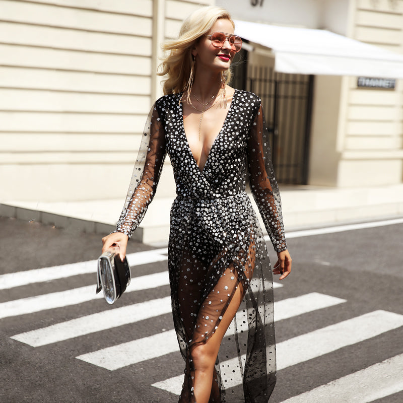 Costbuys  V neck black dress women Sexy transparent mesh party dresses High side split sequins long dress - Champagne / L