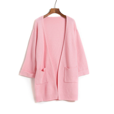 Women Knitting Long Cardigan Knitted Sweater Loose Autumn Warm Cardigan Pockets Jacket Female Jumper Coat