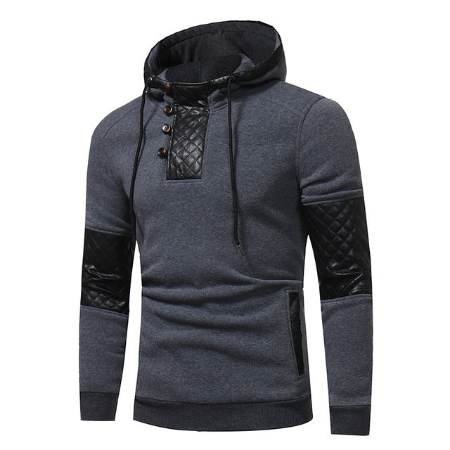 Hoodie Patchwork Leather Hoodies Men Fashion Tracksuit Male Sweatshirt Hoody Mens