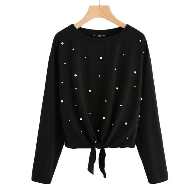 Costbuys  Pearl Beaded Knot Front Cute Tee Shirt Black Casual T shirt for Women Long Sleeve Round Neck Women T-shirts - Black /