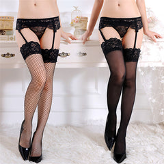 Sexy Lingerie Hot Fishnet Stockings With Garter Belt Women Black Sheer Lace Top Knee High Erotic Lingerie Pantyhose Stocking Set