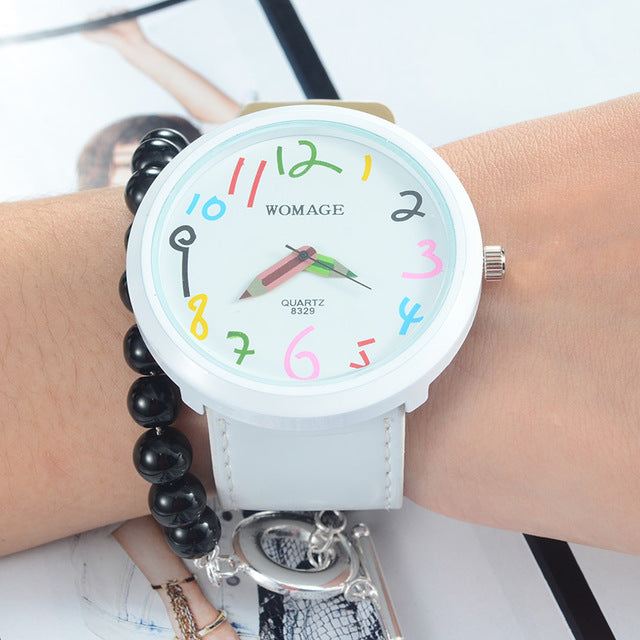 Costbuys  Kids Watch New Fashion Watch Colorful Pencil Pattern Children Wristwatch Kids White Watches Girls