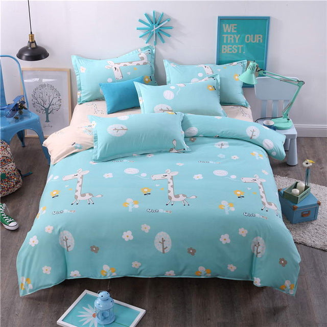 Costbuys  Bedding Sets Long period flowers Polyester Cotton Queen full Bed Linens duvet cover Sheet Sets - 2 / Full cover 150by2