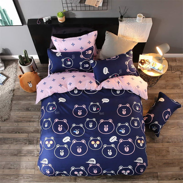 Costbuys  Bedding Sets Long period flowers Polyester Cotton Queen full Bed Linens duvet cover Sheet Sets - 11 / Full cover 150by