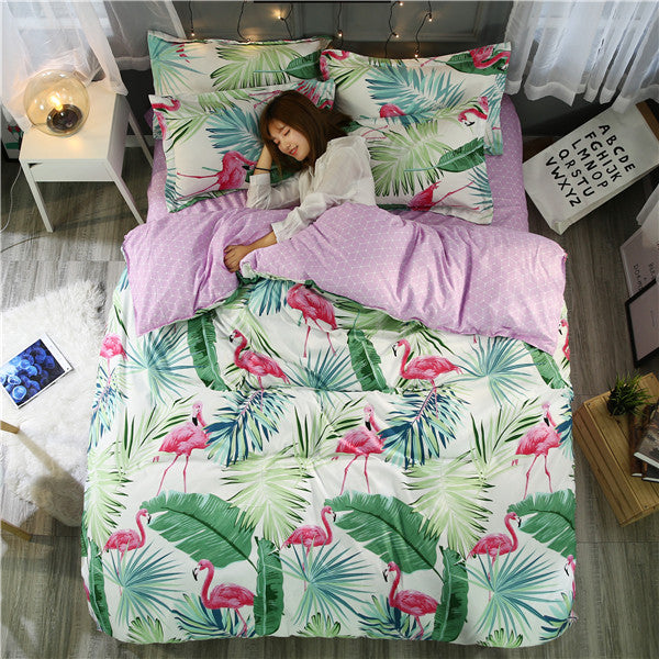 Costbuys  Flamingo Bedding Set Tropical Plant Quilt Cover queen full King Size Home Bed Set Flower Print Pink and Green Bedcloth