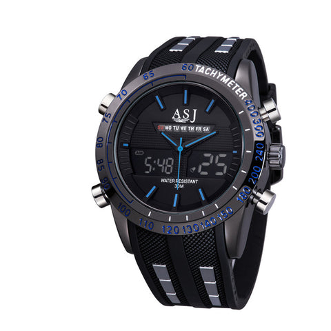 New Top Luxury Brand Dual Display Men Watch LED Display Multi functional Wristwatch Waterproof Alarm