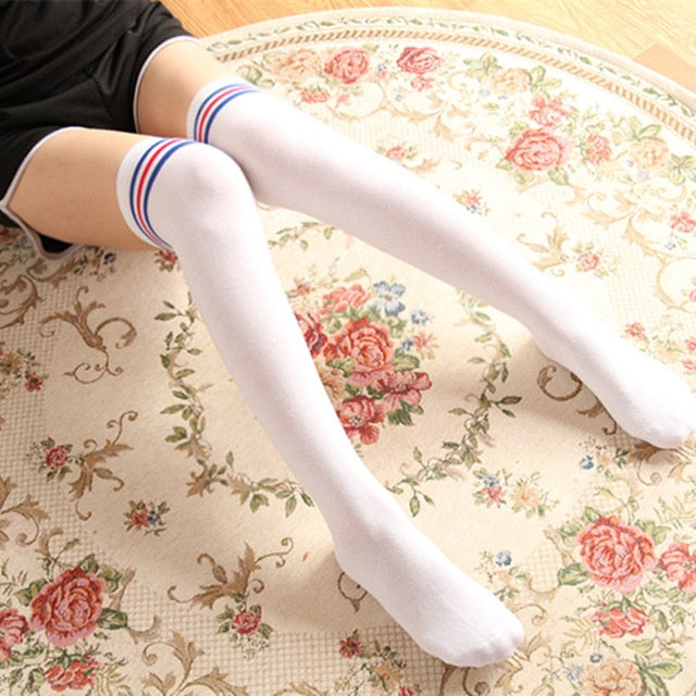 Costbuys  Compression Socks Women Autumn Warm Over Knee Socks Thigh High Socks Full Cotton Striped Socks Tattoo Stockings - Whit