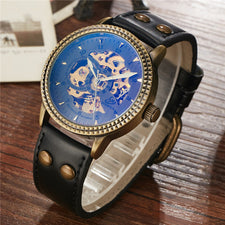Automatic Mechanical Watch Men Luxury Retro Bronze Case Stainless Steel Skeleton Leather Watch