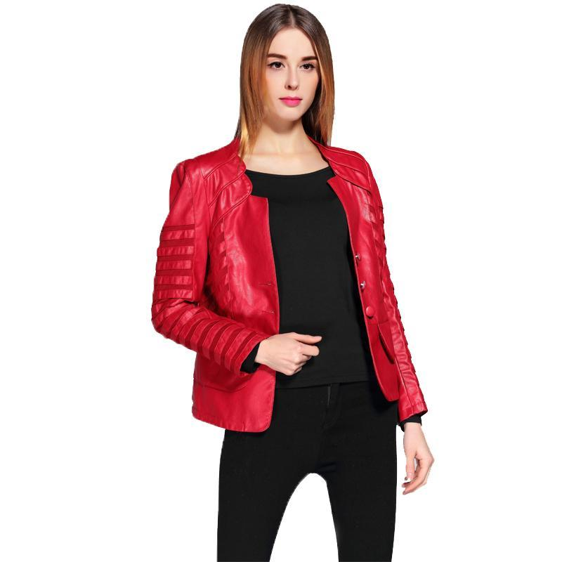Spring Autumn PU Leather Jacket Women Plus Size 4XL Motorcycle Jacket Faux Leather Red Biker Coat Patchwork Soft Outwear