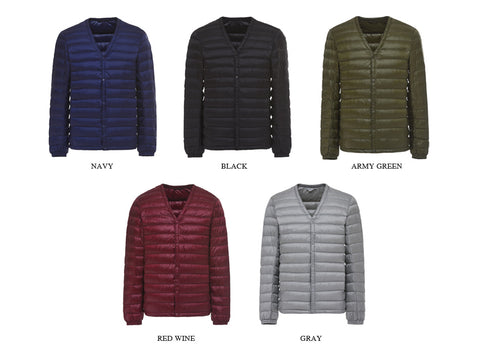 Winter Men Warm Down Jackets Fashion Casual V-collar Light Down Men White Duck Down Coat Male