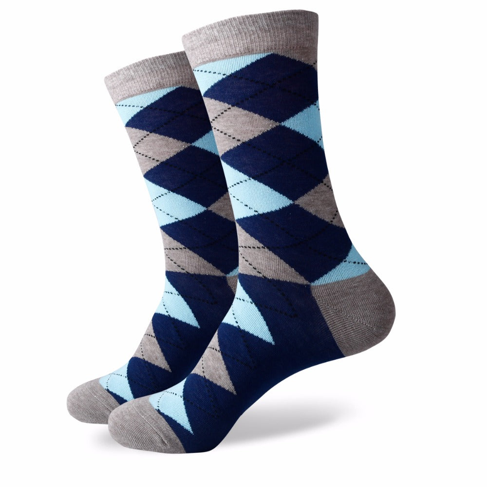 Men's Business Combed Cotton Crew Dress Socks (5 pairs/lot )