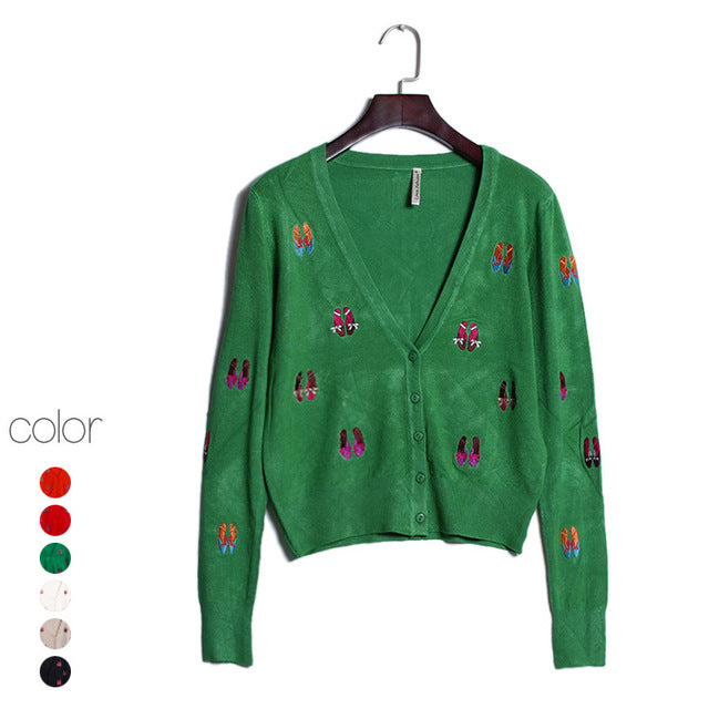 Shoes embroidery Women Cardigan Knitted Sweater Coat Long Sleeve Crochet Female V-Neck Woman Cardigans Tops poncho pull femme
