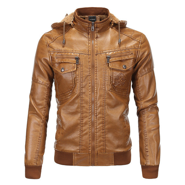 Winter Leather Jacket Men Hooded New Brand Thick Warm Jackets Coats High Quality Moto Slim Fit Clothing