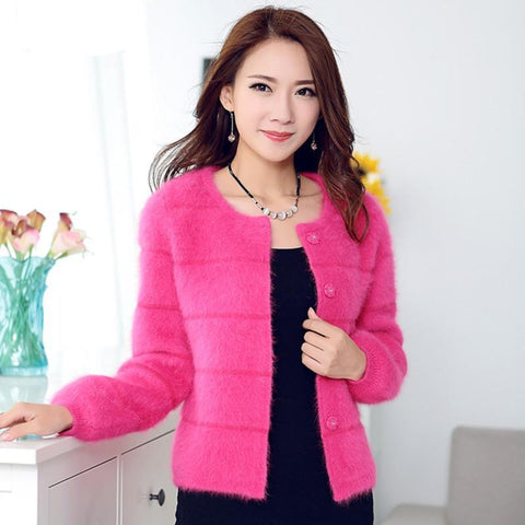 Fashion Women's Clothing Spring Autumn Winter Single Breasted Cashmere Knitted Long Cardigans O-Neck Sweaters Coat Women