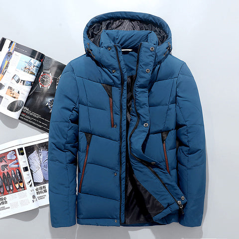 Winter Jacket Men High Quality Solid Color Thick Warm White Duck Down Jacket Overcoat Men's Clothing